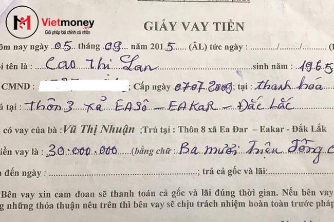 cách đòi tiền bằng giấy vay tiền